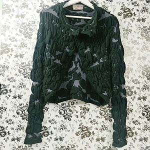 Desigual textured crinkle sweater crop cardigan
